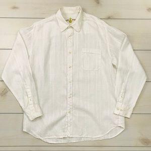 Men's Tommy Bahama White Linen Button Down Shirt L